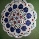 "15"" Lapis Lazuli Turquoise Marble Plate Inlaid Floral Semi Design Home Decor New"