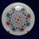 """10"""" Marble Plate Malachite Inlaid Floral Pietra Dura Mosaic Home Decor Gifts"""
