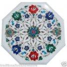 "18"" White Marble Table Top Mosaic Inlaid Paua Shell Handmade Home Decor Gifts"