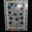 Marble Serving Tray Plate Lapis Lazuli Handmade Pietra Dura Inlay Home decor Art