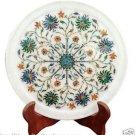 """9"""" Marble Serving Round Plate Real Multi Gem Inlay Pietradure Art Kitchen Decor"""