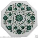 "Size 12""x12"" Marble Side Coffee Table Top Malachite Inlay Floral Marquetry Arts"