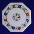"18"" Exclusive White Marble Marquetry Table Top Inlaid Pietra Dura Floral Gifts"