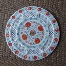 "15"" Marble Plate Filigree Hakik Floral Design Pietra Dura Work Handmade Decor"