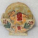 Marble Tea Coaster Set Camel Handmade Beautiful Hand painted Home Decor