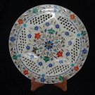"""12"""" Marble Lapis Pietra Dura Marquetry Gifts Plate Home Decor Hand made New"""