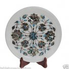 White Marble Serving Tray Plate Kishti Turquoise Pauashell Mosaic Inlay Art Gift