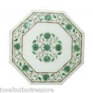 "12"" Marble Cofffee Table Top Side Malachite Pietra Dura Handmade Home Decor Art"
