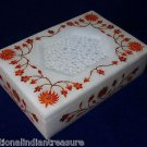 "6""x4""x1.5"" Rectangular Marble jewelry Box Carnelian Semi Precious Inlay Handmade"