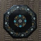 """24"""" Hakik Turquoise Floral Design Rare Coffee Black Marble Table Top Marquetry"""