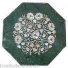 """18"""" Green Marble Coffee Table Top Paua Shell Floral Decor With Wooden Stand New"""