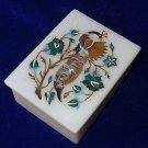 Marble Paua Shell Floral Peacock Handmade Jewelry Trinket Box Mosaic Decor Gifts