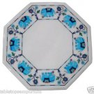 """Size 12""""x12"""" Marble Side Coffee Table Top Turquoise Elephant Inlay Marquetry Art"""