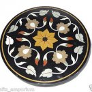 """23"""" Black Oak Dining Table Marble Top Handmade  Marquetry Buds Arts Home Decor"""
