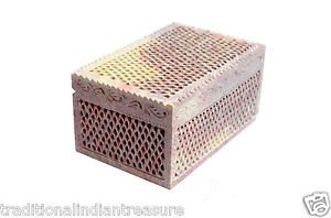 "6""x4""x3.5"" Marble Jewelry Box Handmade Filigree  Tiny Hole craved Beautiful Arts"