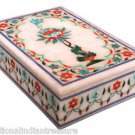 """6""""x4""""x2"""" Marble Trinket Jwellery Box Hakik Floral Art Collectible Gift Marquetry"""