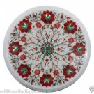 "12"" Marble Coffee Table Top Mosaic Pietra Dura Handmade Home Decor With Stand"