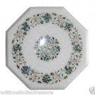 "Size 16""x16"" Marble End Coffee Table Top Pauashell Gems Mosaic Home Decor H011"