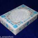"6""x4""x1.5"" White Marble Jewelry Box Turquoise Inlay Handmade Pietra Dura Decor"