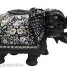 """12"""" Marble Elephant Handmade Paua Shell Pietra Dura Mosaic Gifts Home Decor Arts"""