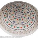 Size 3'x3' White Marble Round Dining Coffee Table Top Inlay Pietradura Art H903