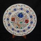 "12"" Decorative Marble Plate Pietra Dura Lapis Lazuli Beautiful Home Decor Gifts"