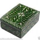 "4""x4""x2"" Green Marble Jewelry Box Trinket Box Handmade Carved Home Decor Gifts"