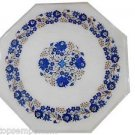 """Size 15""""x15"""" Marble Center Coffee Table Top Lapis Inlay Stone Mosaic Patio Decor"""