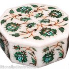 """3""""x3""""x2"""" Marble Storage Jewelry Box Malachite Floral Art Collectible Gifts Decor"""