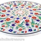 """24"""" Marble Dining Table Top Parrot Arts Handmade Malachite Pietra Dura Gifts New"""