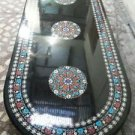 10'x2.5' Black Marble Dining Coffee Table Top High Quality Semi Precious Decor