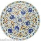 "12"" Marble Plate Pietra Dura Lapis Lazuli Paua Shell Handmade Home Decor Gifts"