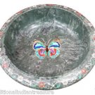 """9"""" Green Marble Dry Fruit Bowl Turquoise Butterfly Inlay Pietradure Kitchen Déco"""