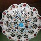 "18"" Marble Plate Inlaid Handmade Paua Shell Malachite Semi Design Home Decor New"