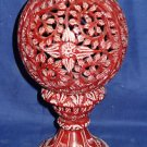 """9"""" Decorative Marble Candle Holder Lamp Red Color Hand carved Aroma Home Decor"""