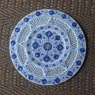 "15"" White Rare Lapis Lazuli Marble Plate Pietra Dura Grill Work Handmade Decor"