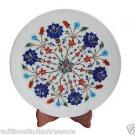 White Marble Round Serving Dish Plate Semi Precious Lapis Inlay Mosaic Deco Gift