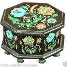 "5""x5""x3"" Black Marble Jewelry Belgium Box Turquoise Handicraft Inlay Home Decor"