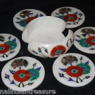 Marble Coaster Set Malachite Paua Shell Pietra Dura Mosaic Home Decor