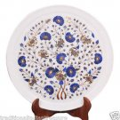 """15"""" White Marble Serving Plate Lapis Lazuli Inlay Pietradure Collectibles Gifts"""