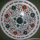 "12"" Marble Rare Plate Decor Malachite Hakik Pietra Dura Inlay Mosaic Decor"