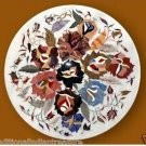 """24"""" Marble Coffee Table Top Floral Design Mosaic Inlaid Pietra Dura Handmade"""