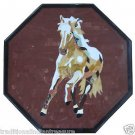 "18"" Marble Coffee Table Top Pietra Dura Running Horse Floral Inlay Semi Precious"
