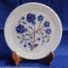 "7"" White Marble Plate Lapis Lazuli Rose Pietra Dura Handmade Home Decor Gifts"