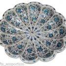 "18"" Decor Marble Bowl Lapis Lazuli Mosaic Inlaid Pietra Dura Home Decor Gifts"