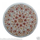 """16"""" White Marble Coffee Cardelian Table Top Marquetry Mosaic Home Decor Arts"""
