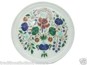 "12"" White Marble Plate Pietra Dura Lapis Lazuli Plate Handmade Semi Precious Art"