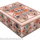 """5""""x3.5""""x2"""" Marble Jewellery Storage Box Malachite Collectible Mosaic Hakik Inlay"""