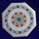 "12"" Marble Table Top Original Stone Inlaid Pietra Dura Foral Home Decorative Art"