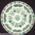 "15"" White Marble Plate Pietra Dura Filigree Handmade Semi Precious Marquetry Art"
